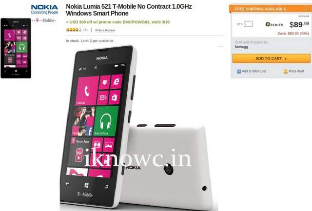 T-Mobile Nokia Lumia 521 for $60 off contract in US