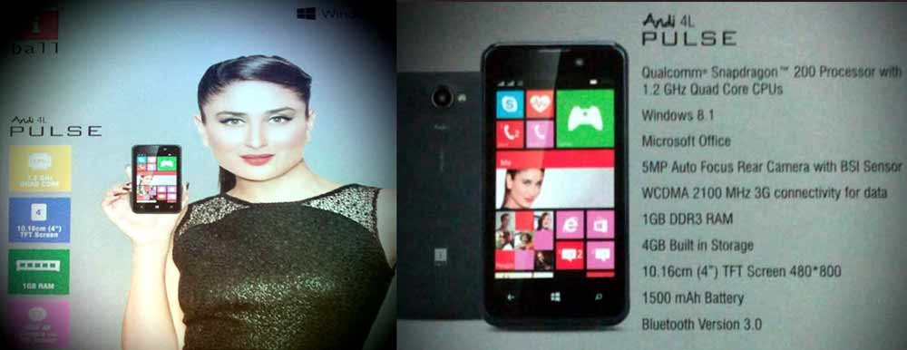IBall Andi 4L Pulse with 1GB RAM, Windows Phone 8.1 for RS ...