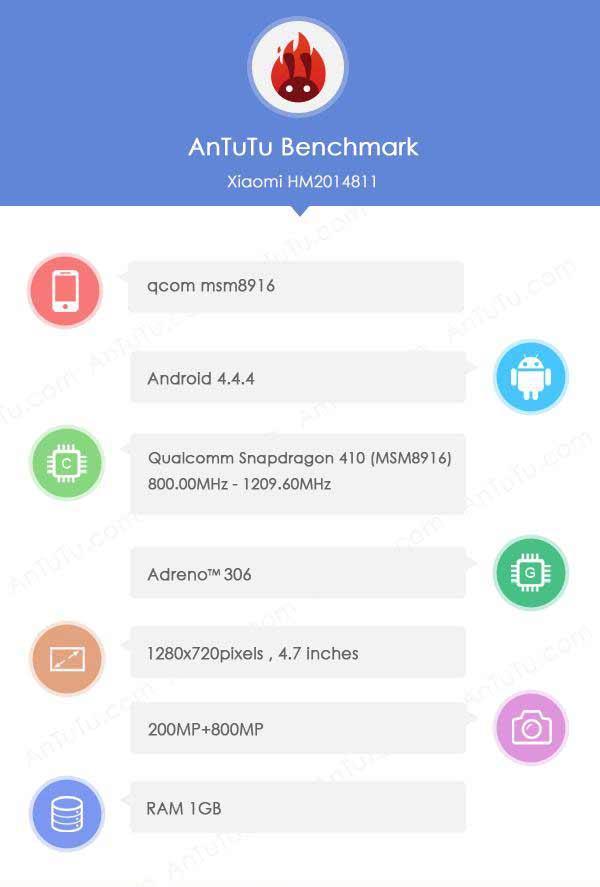 xiaomi redmi 2s leaked benchmarks