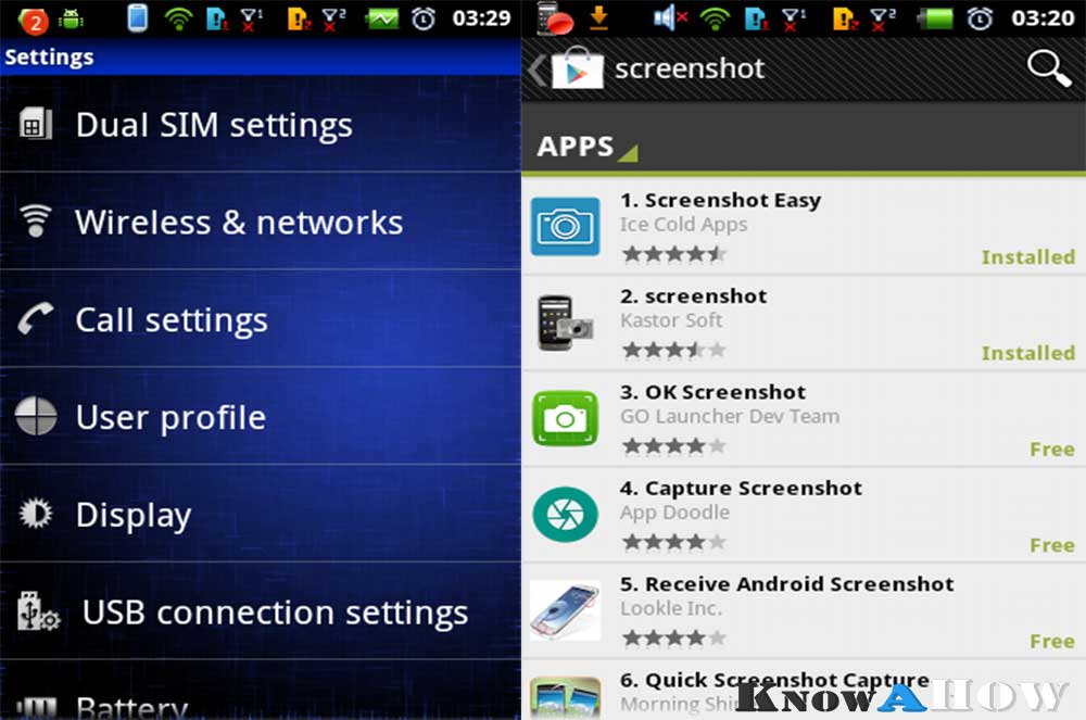 screenshot by installing app on android
