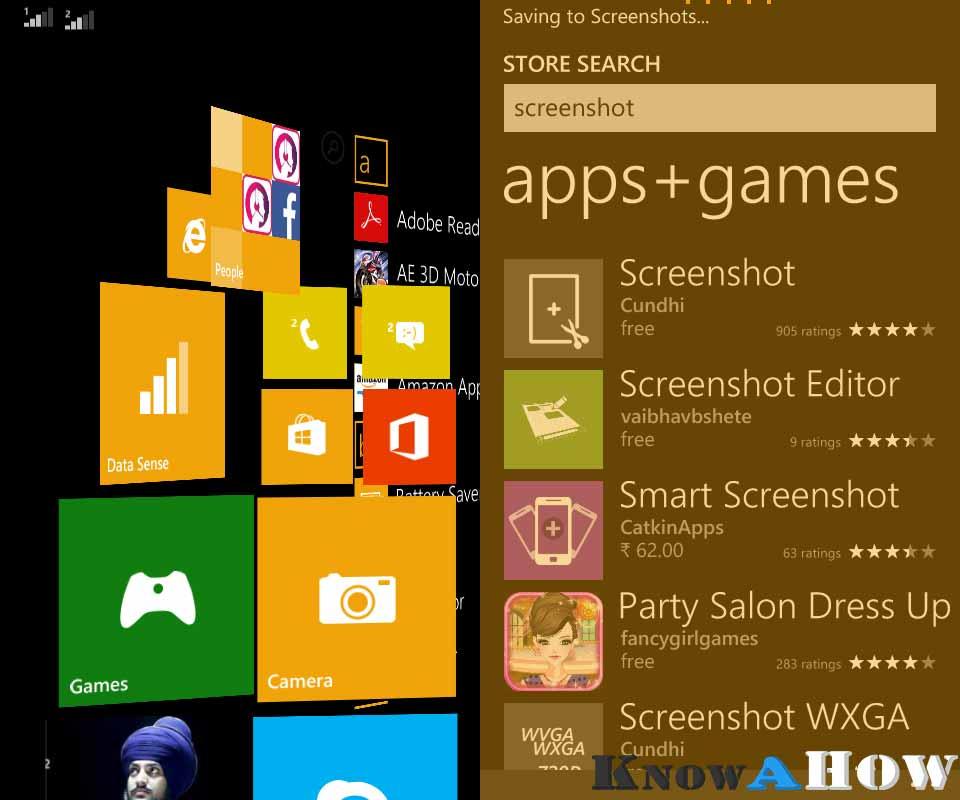 take screenshots in windows phone