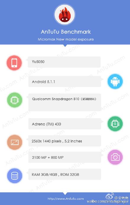 YU YU5050 AnTuTu specs leak