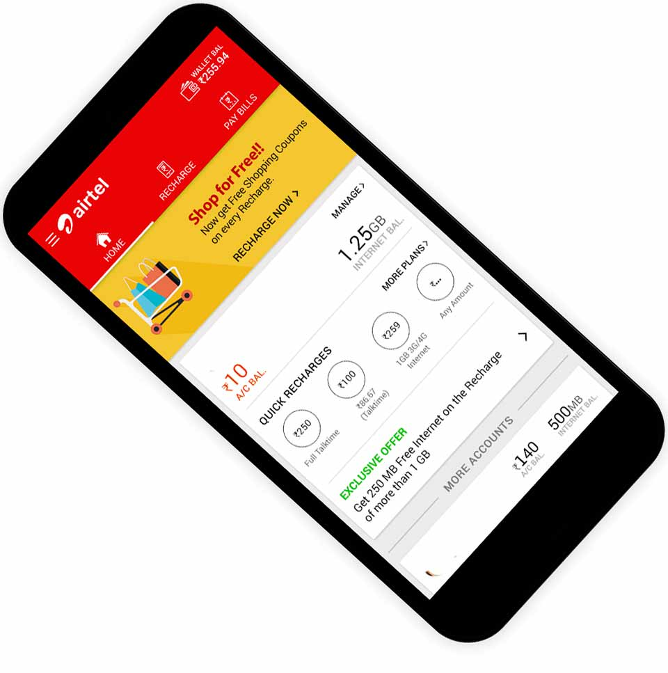check Airtel Internet Data Balance usage validity for 4G LTE via MY Airtel APP