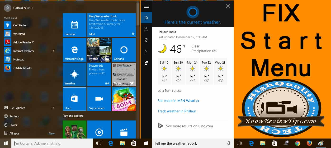 Fix Start Menu & Cortana not Opening in Windows 10 after update