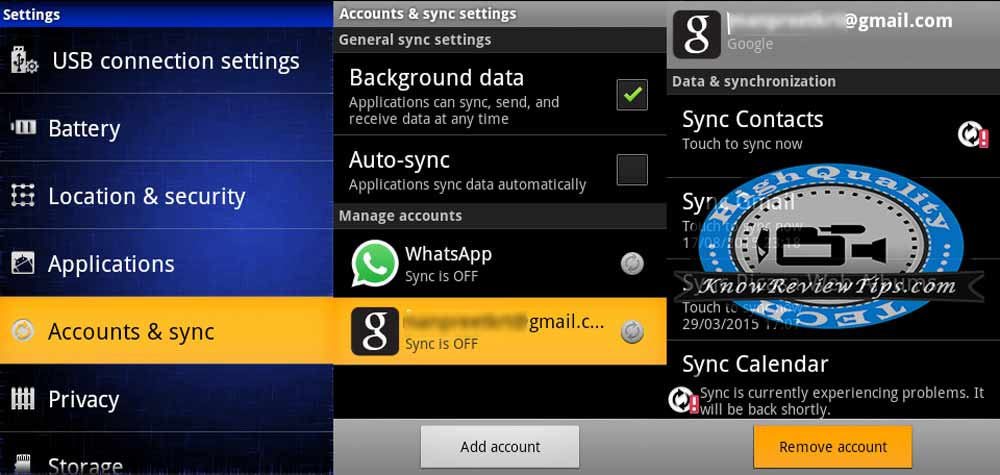 Remove Google Gmail Account in Android Phone