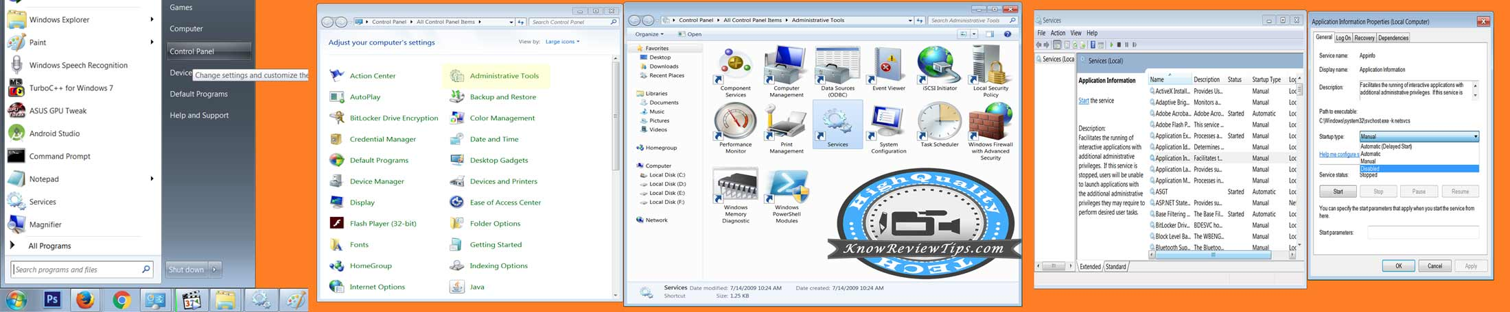 Start or Stop Windows services in Windows 10 / 7 / 8 / XP