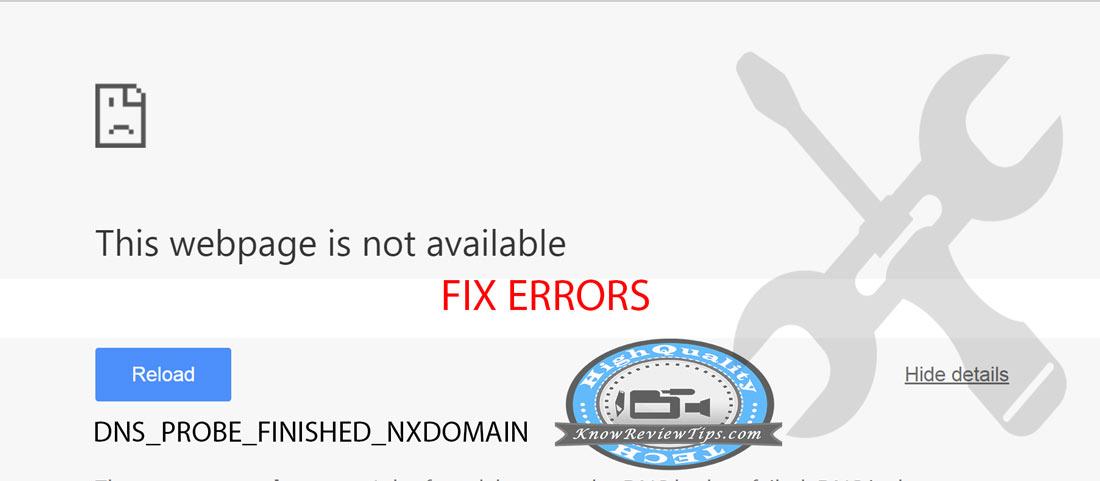 error DNS_PROBE_FINISHED_NXDOMAIN Google Chrome