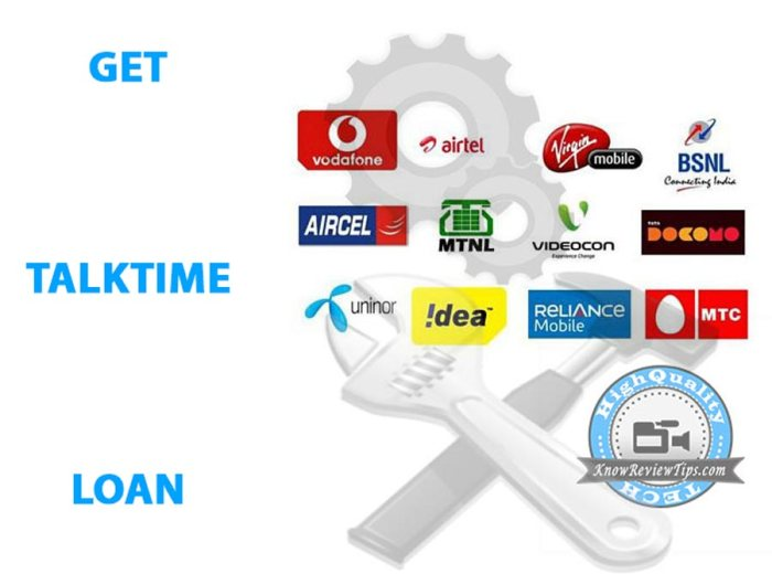 how to get talktime loan in all SIMS