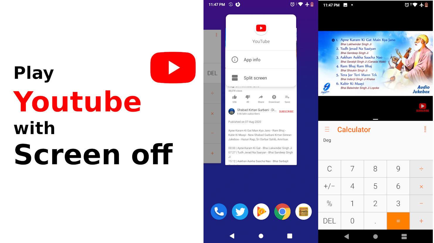 Play youtube videos in background using split-screen